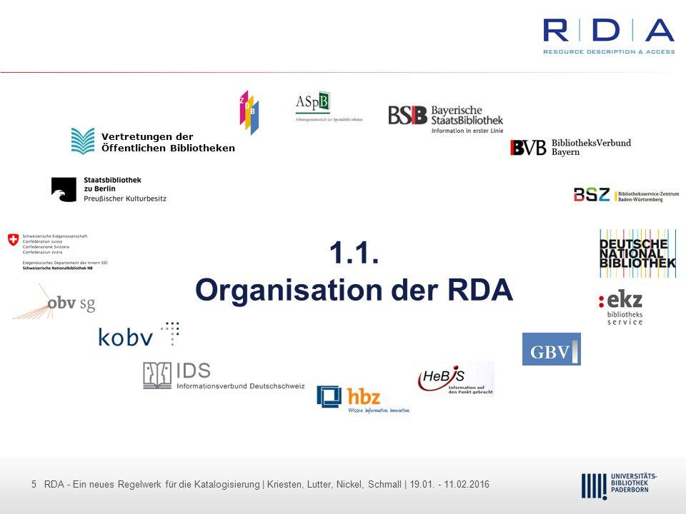 5 - Dr. Dietmar Haubfleisch – Die aktuellen Empfehlungen der DFG und des WR … – DBV, Sektion IV-Sitzung am 26.10.211 5 RDA - Ein neues Regelwerk für d