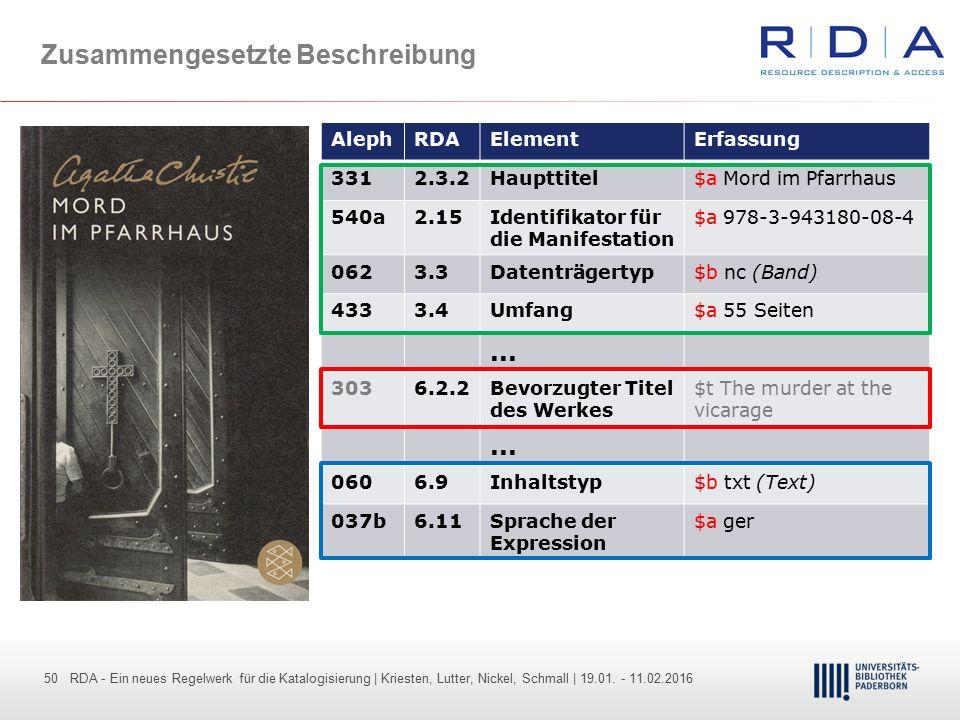 50 - Dr. Dietmar Haubfleisch – Die aktuellen Empfehlungen der DFG und des WR … – DBV, Sektion IV-Sitzung am 26.10.211 50 RDA - Ein neues Regelwerk für