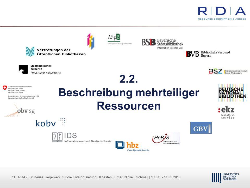 51 - Dr. Dietmar Haubfleisch – Die aktuellen Empfehlungen der DFG und des WR … – DBV, Sektion IV-Sitzung am 26.10.211 51 RDA - Ein neues Regelwerk für