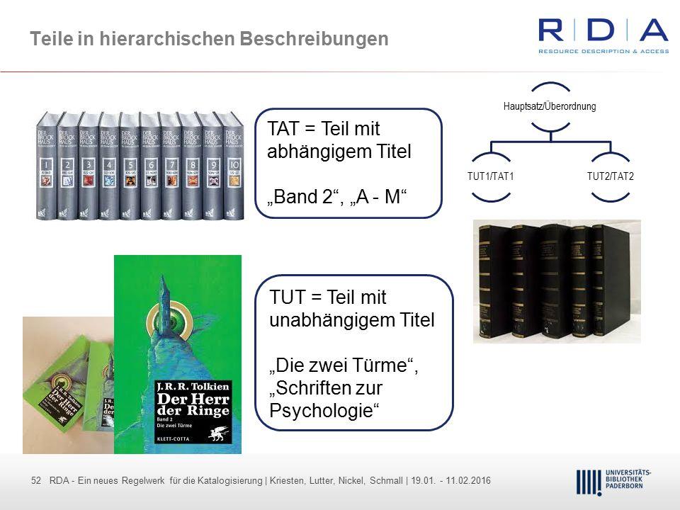 52 - Dr. Dietmar Haubfleisch – Die aktuellen Empfehlungen der DFG und des WR … – DBV, Sektion IV-Sitzung am 26.10.211 52 RDA - Ein neues Regelwerk für