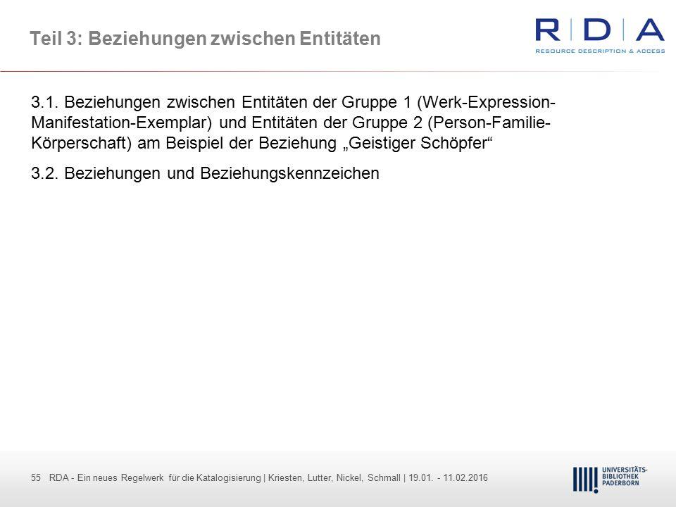 55 - Dr. Dietmar Haubfleisch – Die aktuellen Empfehlungen der DFG und des WR … – DBV, Sektion IV-Sitzung am 26.10.211 55 RDA - Ein neues Regelwerk für