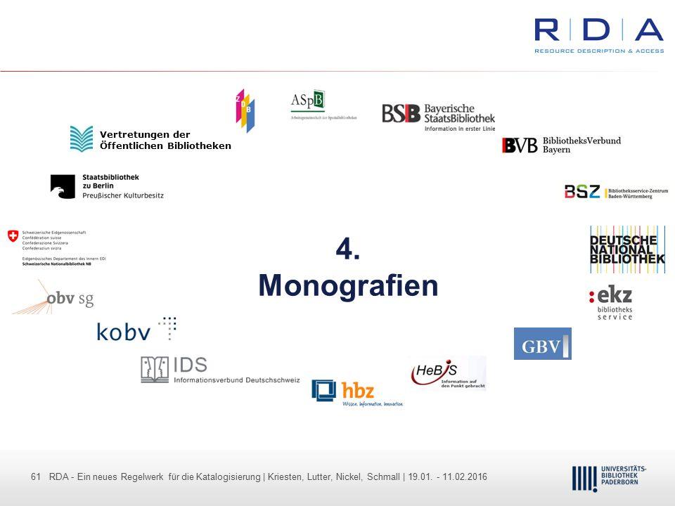 61 - Dr. Dietmar Haubfleisch – Die aktuellen Empfehlungen der DFG und des WR … – DBV, Sektion IV-Sitzung am 26.10.211 61 RDA - Ein neues Regelwerk für