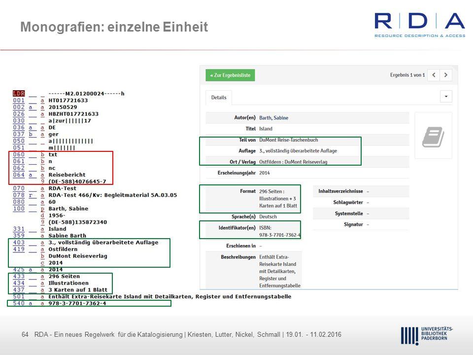 64 - Dr. Dietmar Haubfleisch – Die aktuellen Empfehlungen der DFG und des WR … – DBV, Sektion IV-Sitzung am 26.10.211 64 RDA - Ein neues Regelwerk für