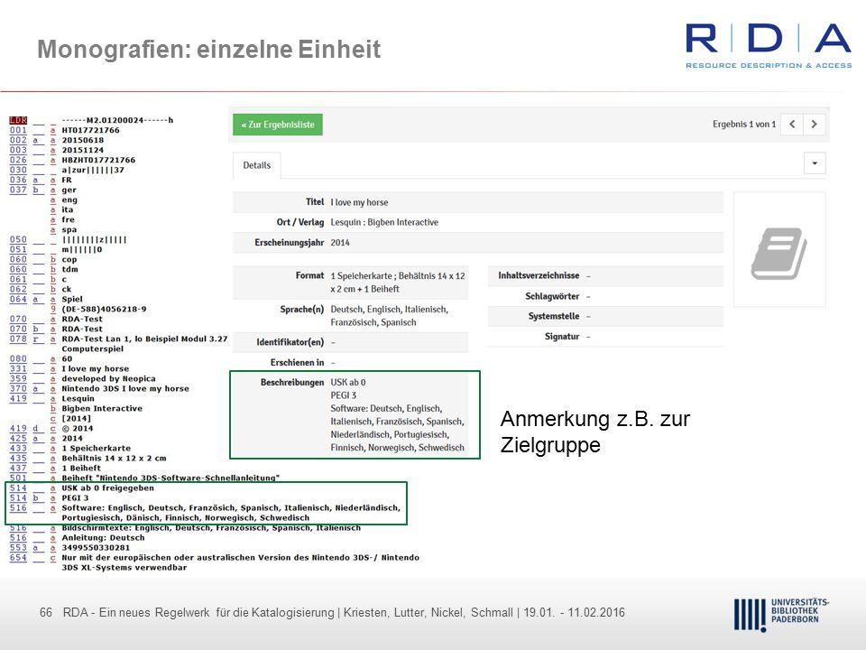 66 - Dr. Dietmar Haubfleisch – Die aktuellen Empfehlungen der DFG und des WR … – DBV, Sektion IV-Sitzung am 26.10.211 66 RDA - Ein neues Regelwerk für