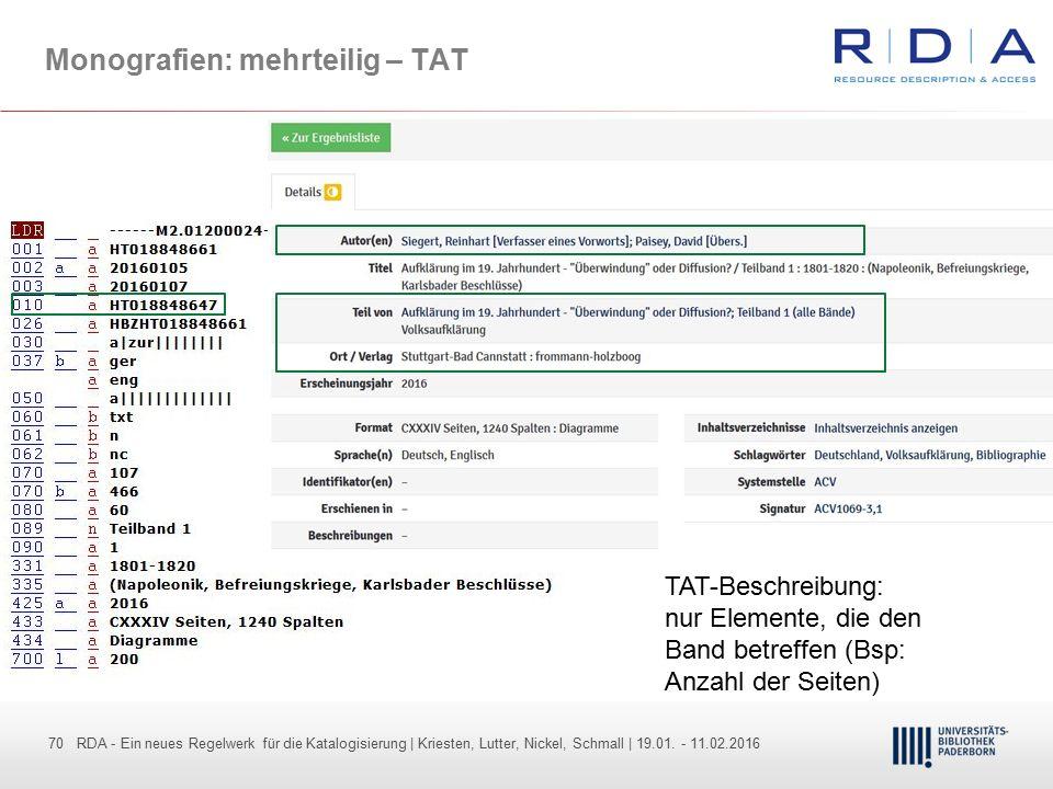 70 - Dr. Dietmar Haubfleisch – Die aktuellen Empfehlungen der DFG und des WR … – DBV, Sektion IV-Sitzung am 26.10.211 70 RDA - Ein neues Regelwerk für