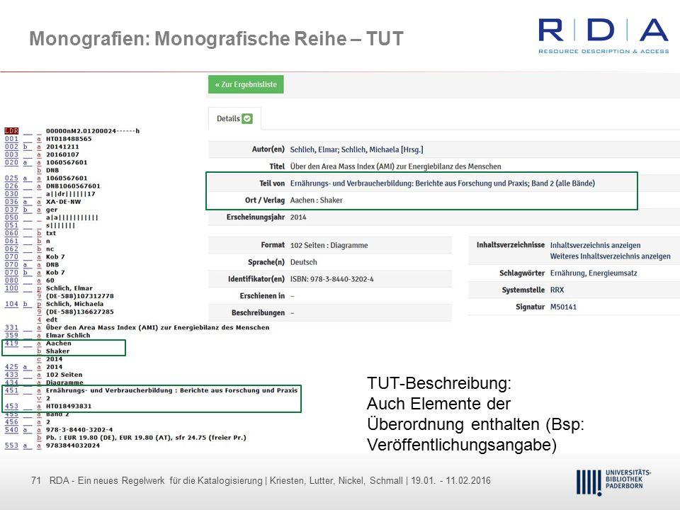 71 - Dr. Dietmar Haubfleisch – Die aktuellen Empfehlungen der DFG und des WR … – DBV, Sektion IV-Sitzung am 26.10.211 71 RDA - Ein neues Regelwerk für