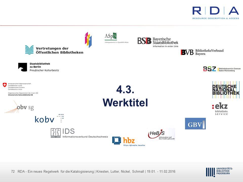 72 - Dr. Dietmar Haubfleisch – Die aktuellen Empfehlungen der DFG und des WR … – DBV, Sektion IV-Sitzung am 26.10.211 72 RDA - Ein neues Regelwerk für