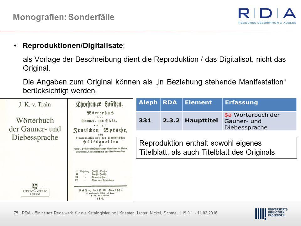 75 - Dr. Dietmar Haubfleisch – Die aktuellen Empfehlungen der DFG und des WR … – DBV, Sektion IV-Sitzung am 26.10.211 75 RDA - Ein neues Regelwerk für