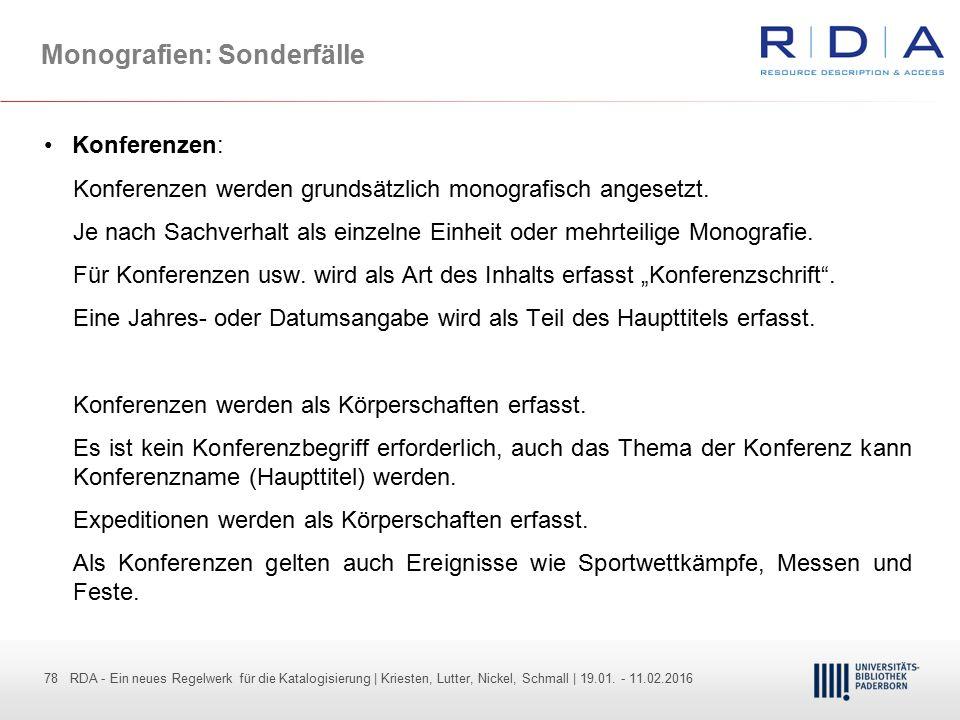 78 - Dr. Dietmar Haubfleisch – Die aktuellen Empfehlungen der DFG und des WR … – DBV, Sektion IV-Sitzung am 26.10.211 78 RDA - Ein neues Regelwerk für