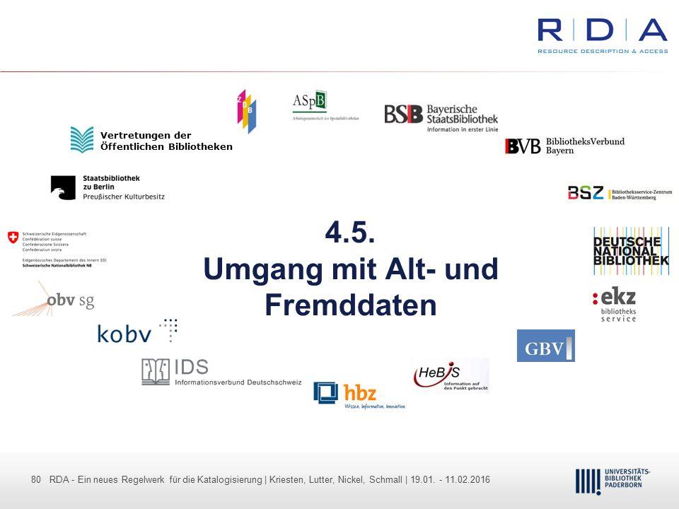 80 - Dr. Dietmar Haubfleisch – Die aktuellen Empfehlungen der DFG und des WR … – DBV, Sektion IV-Sitzung am 26.10.211 80 RDA - Ein neues Regelwerk für