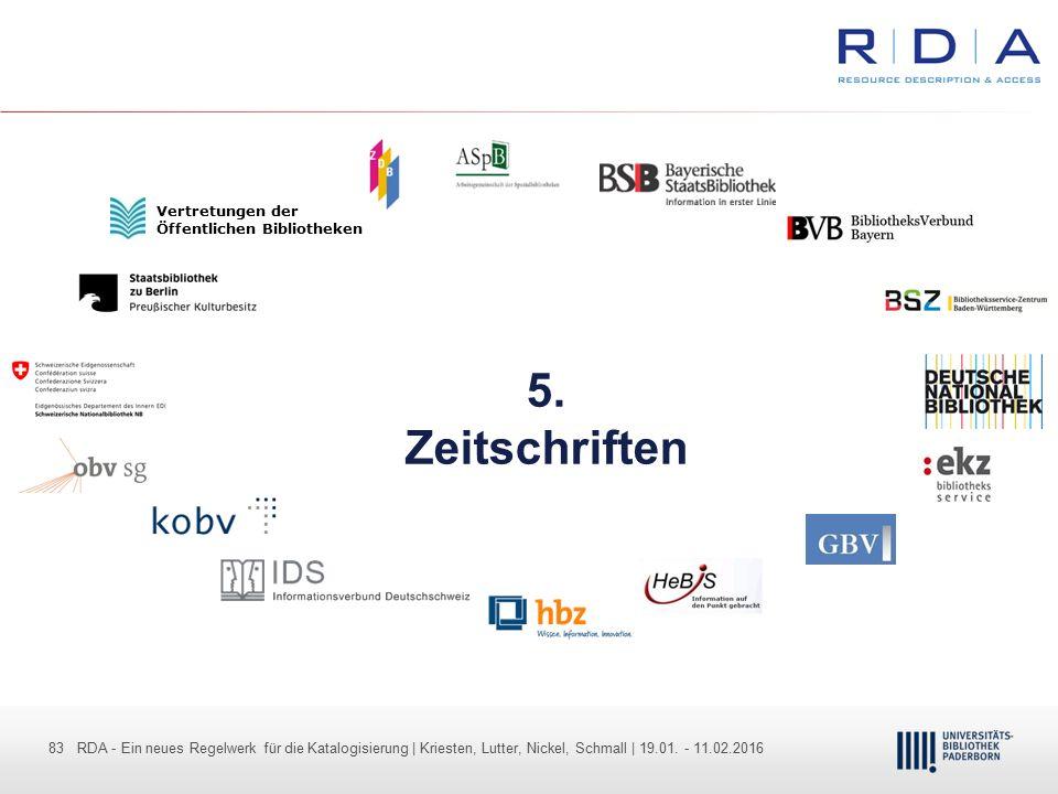 83 - Dr. Dietmar Haubfleisch – Die aktuellen Empfehlungen der DFG und des WR … – DBV, Sektion IV-Sitzung am 26.10.211 83 RDA - Ein neues Regelwerk für