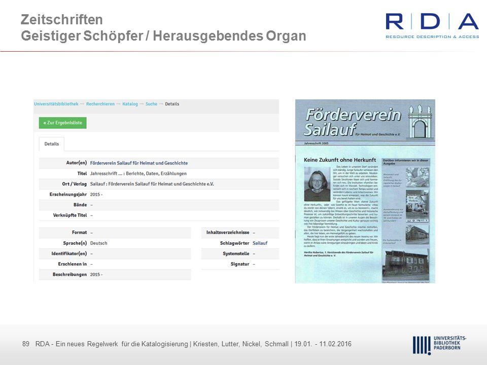 89 - Dr. Dietmar Haubfleisch – Die aktuellen Empfehlungen der DFG und des WR … – DBV, Sektion IV-Sitzung am 26.10.211 89 RDA - Ein neues Regelwerk für
