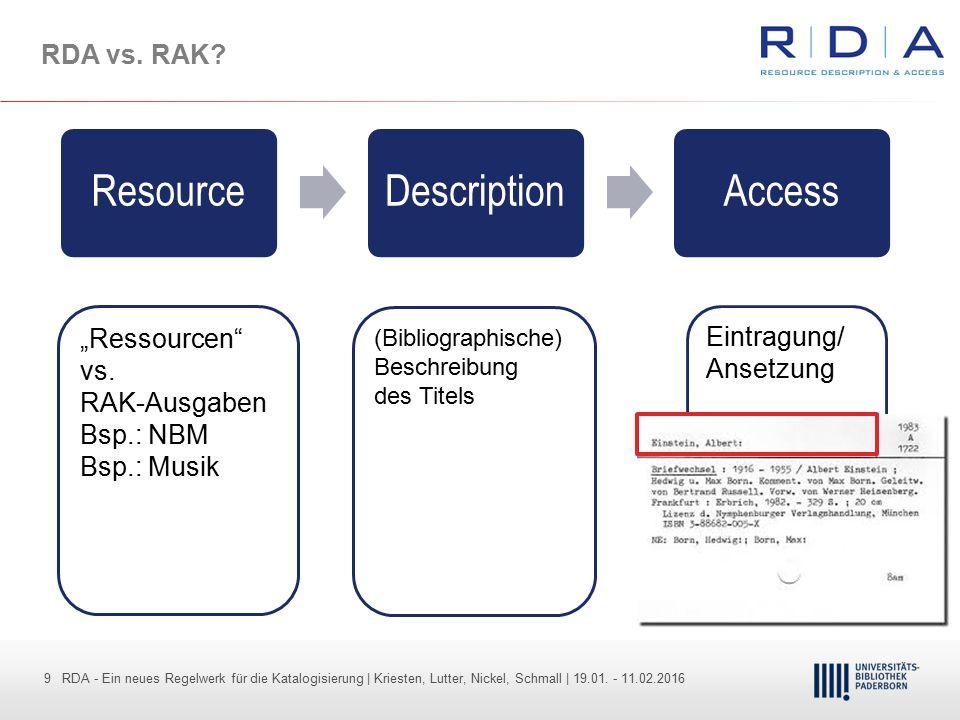 9 - Dr. Dietmar Haubfleisch – Die aktuellen Empfehlungen der DFG und des WR … – DBV, Sektion IV-Sitzung am 26.10.211 9 RDA - Ein neues Regelwerk für d