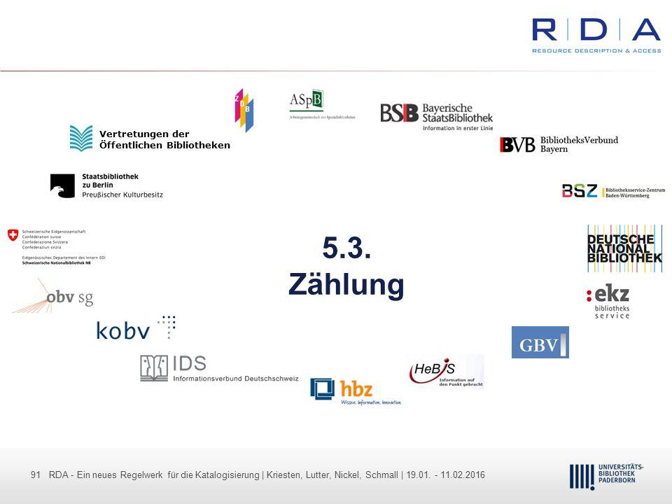 91 - Dr. Dietmar Haubfleisch – Die aktuellen Empfehlungen der DFG und des WR … – DBV, Sektion IV-Sitzung am 26.10.211 91 RDA - Ein neues Regelwerk für