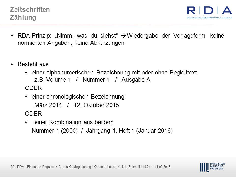 92 - Dr. Dietmar Haubfleisch – Die aktuellen Empfehlungen der DFG und des WR … – DBV, Sektion IV-Sitzung am 26.10.211 92 RDA - Ein neues Regelwerk für
