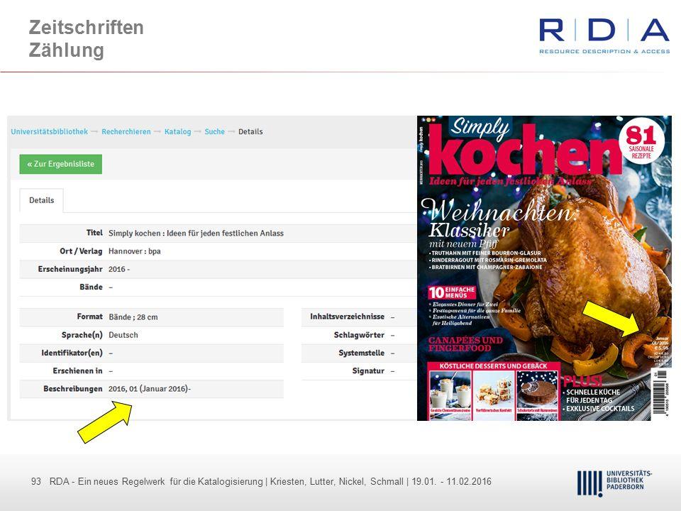 93 - Dr. Dietmar Haubfleisch – Die aktuellen Empfehlungen der DFG und des WR … – DBV, Sektion IV-Sitzung am 26.10.211 93 RDA - Ein neues Regelwerk für