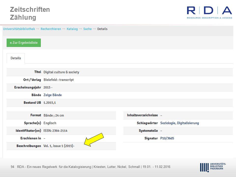 94 - Dr. Dietmar Haubfleisch – Die aktuellen Empfehlungen der DFG und des WR … – DBV, Sektion IV-Sitzung am 26.10.211 94 RDA - Ein neues Regelwerk für
