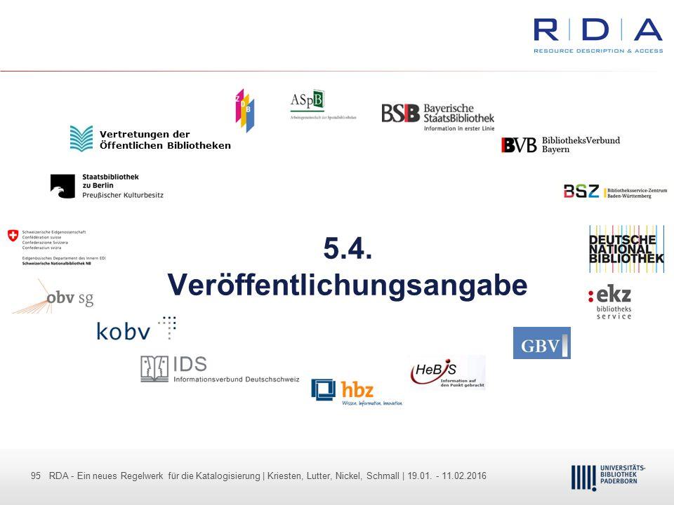 95 - Dr. Dietmar Haubfleisch – Die aktuellen Empfehlungen der DFG und des WR … – DBV, Sektion IV-Sitzung am 26.10.211 95 RDA - Ein neues Regelwerk für
