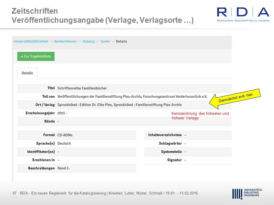 97 - Dr. Dietmar Haubfleisch – Die aktuellen Empfehlungen der DFG und des WR … – DBV, Sektion IV-Sitzung am 26.10.211 97 RDA - Ein neues Regelwerk für