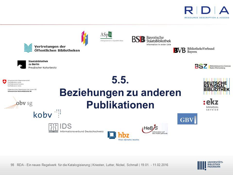 98 - Dr. Dietmar Haubfleisch – Die aktuellen Empfehlungen der DFG und des WR … – DBV, Sektion IV-Sitzung am 26.10.211 98 RDA - Ein neues Regelwerk für