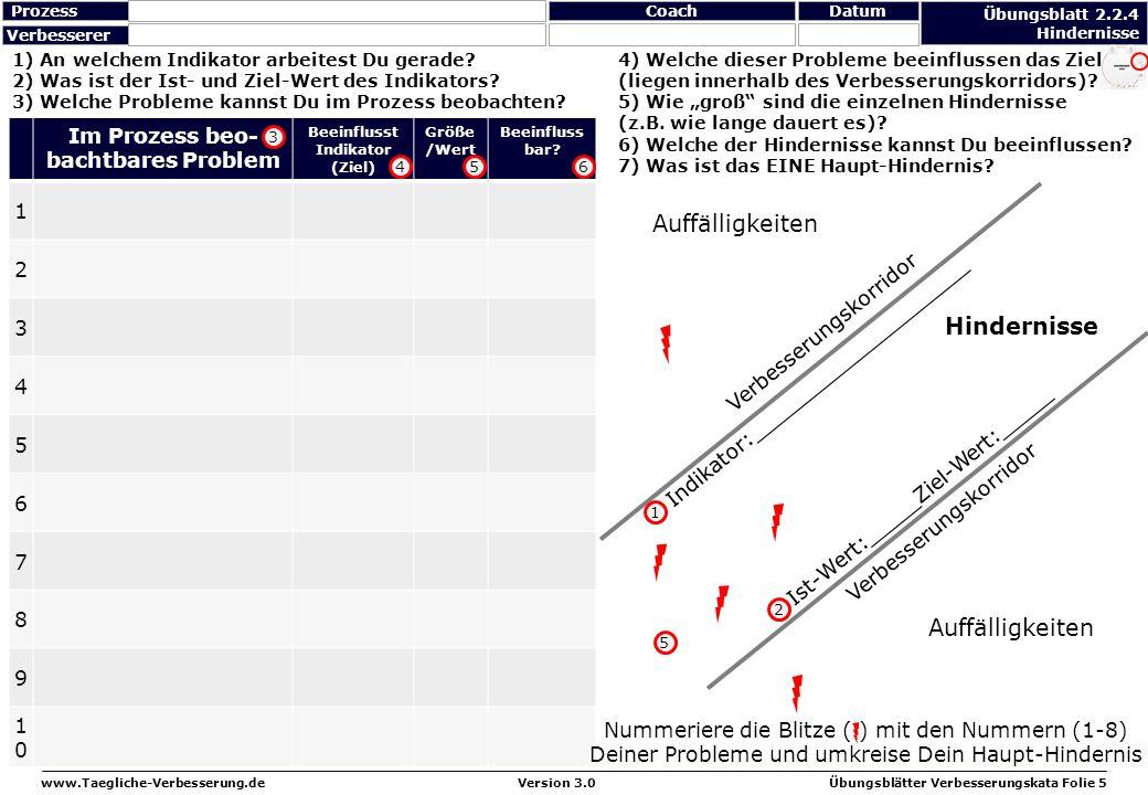 www.Taegliche-Verbesserung.deÜbungsblätter Verbesserungskata Folie 5Version 3.0 4) Welche dieser Probleme beeinflussen das Ziel (liegen innerhalb des