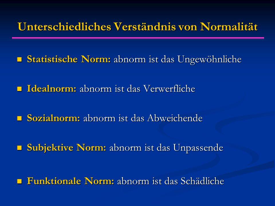 Unterschiedliches Verständnis von Normalität Statistische Norm: abnorm ist das Ungewöhnliche Statistische Norm: abnorm ist das Ungewöhnliche Idealnorm