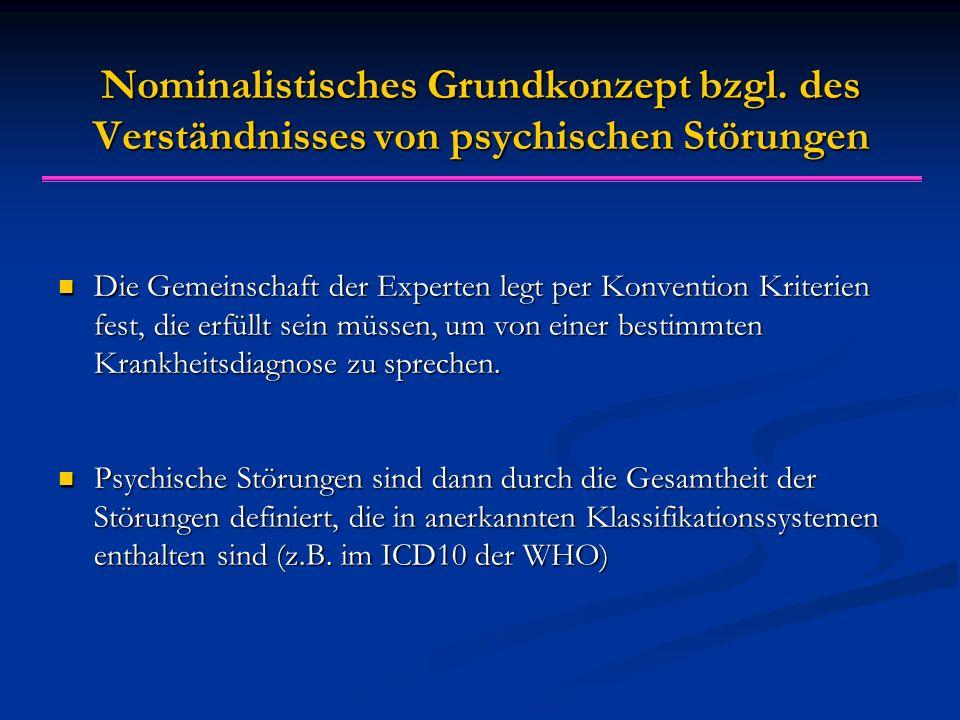 Nominalistisches Grundkonzept bzgl. des Verständnisses von psychischen Störungen Die Gemeinschaft der Experten legt per Konvention Kriterien fest, die
