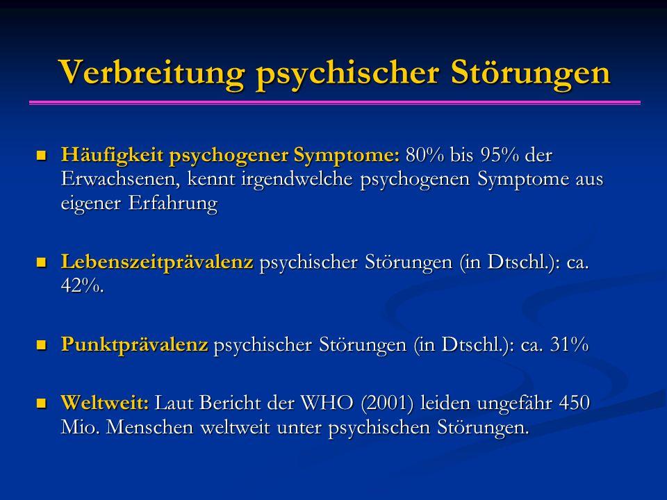 Verbreitung psychischer Störungen Häufigkeit psychogener Symptome: 80% bis 95% der Erwachsenen, kennt irgendwelche psychogenen Symptome aus eigener Er