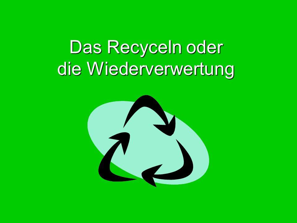 Das Recyceln oder die Wiederverwertung