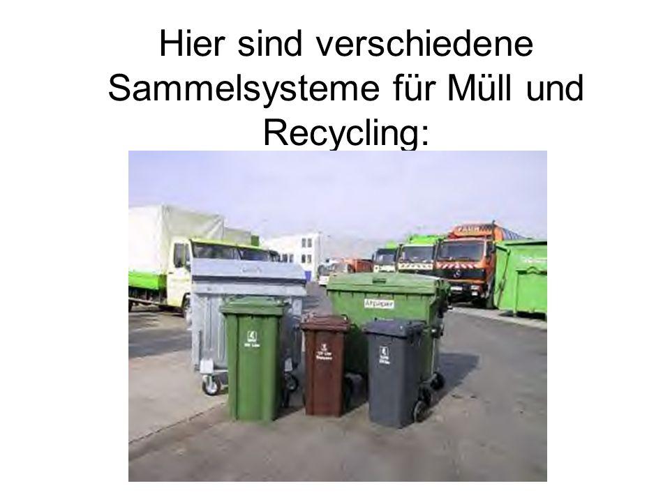 Hier sind verschiedene Sammelsysteme für Müll und Recycling: