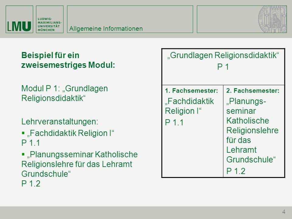 """4 Allgemeine Informationen Beispiel für ein zweisemestriges Modul: Modul P 1: """"Grundlagen Religionsdidaktik"""" Lehrveranstaltungen:  """"Fachdidaktik Reli"""