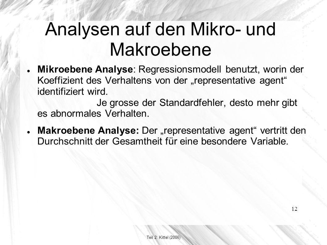 """12 Analysen auf den Mikro- und Makroebene Mikroebene Analyse: Regressionsmodell benutzt, worin der Koeffizient des Verhaltens von der """"representative agent identifiziert wird."""