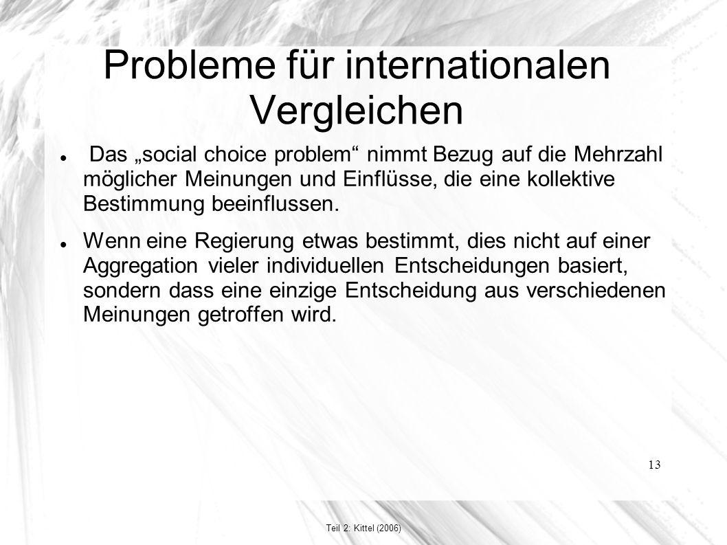 """13 Probleme für internationalen Vergleichen Das """"social choice problem nimmt Bezug auf die Mehrzahl möglicher Meinungen und Einflüsse, die eine kollektive Bestimmung beeinflussen."""