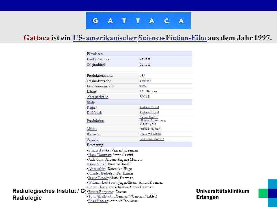 Radiologisches Institut / Gyn. Radiologie Filmdaten Deutscher Titel Gattaca Originaltitel Gattaca Produktionsland USA Originalsprache Englisch Erschei