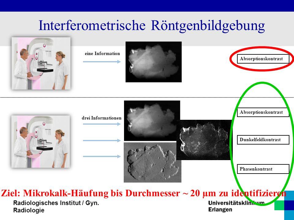 Radiologisches Institut / Gyn. Radiologie Interferometrische Röntgenbildgebung Absorptionskontrast Dunkelfeldkontrast Phasenkontrast eine Information