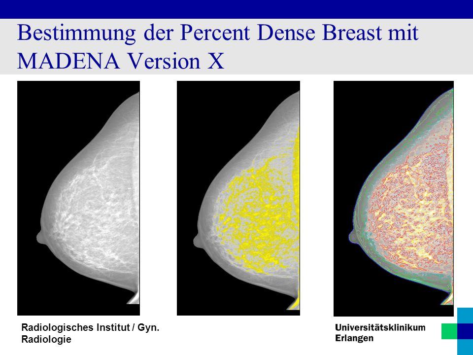 Radiologisches Institut / Gyn. Radiologie Bestimmung der Percent Dense Breast mit MADENA Version X