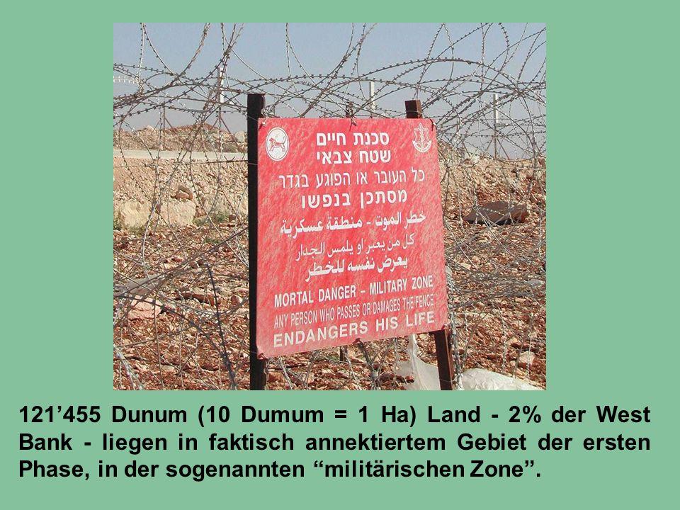 121'455 Dunum (10 Dumum = 1 Ha) Land - 2% der West Bank - liegen in faktisch annektiertem Gebiet der ersten Phase, in der sogenannten militärischen Zone .