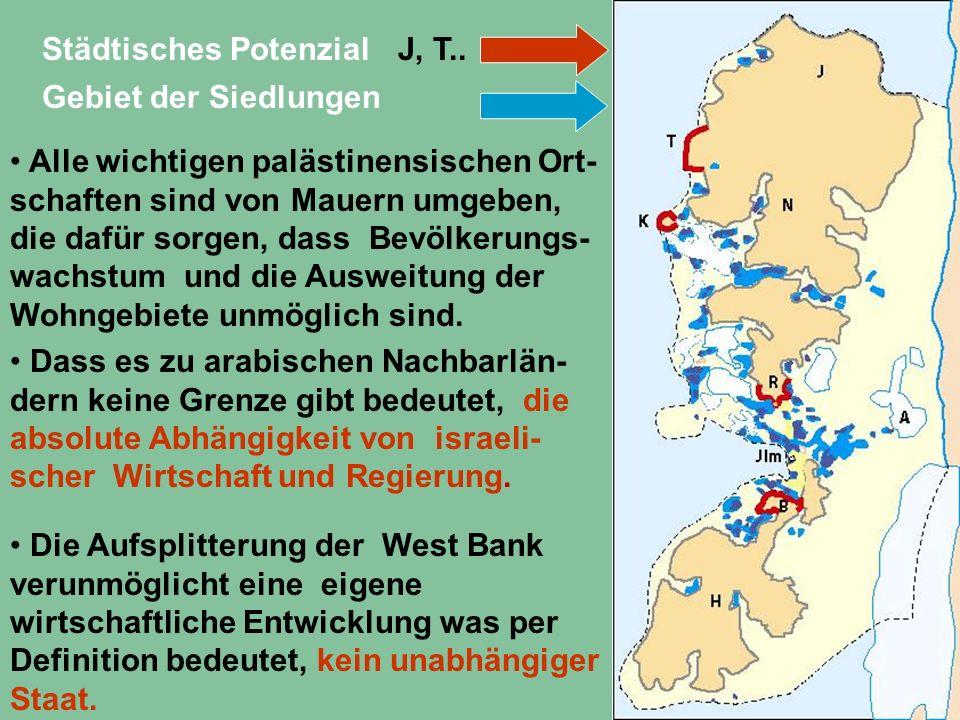 Städtisches PotenzialJ, T.. Gebiet der Siedlungen Alle wichtigen palästinensischen Ort- schaften sind von Mauern umgeben, die dafür sorgen, dass Bevöl