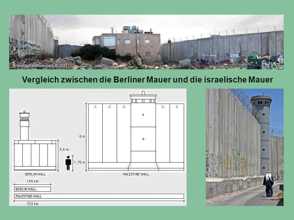 Vergleich zwischen die Berliner Mauer und die israelische Mauer