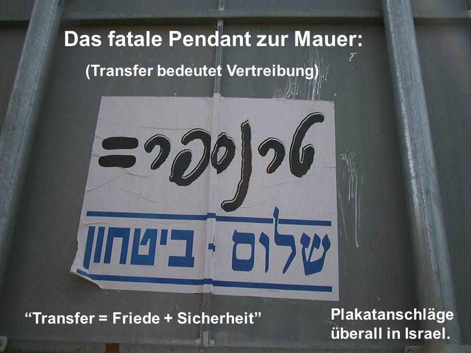 Transfer = Friede + Sicherheit Das fatale Pendant zur Mauer: (Transfer bedeutet Vertreibung) Plakatanschläge überall in Israel.