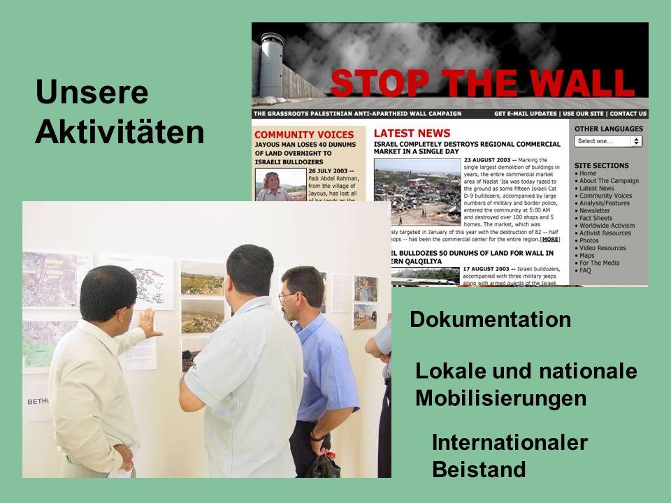 Unsere Aktivitäten Dokumentation Lokale und nationale Mobilisierungen Internationaler Beistand