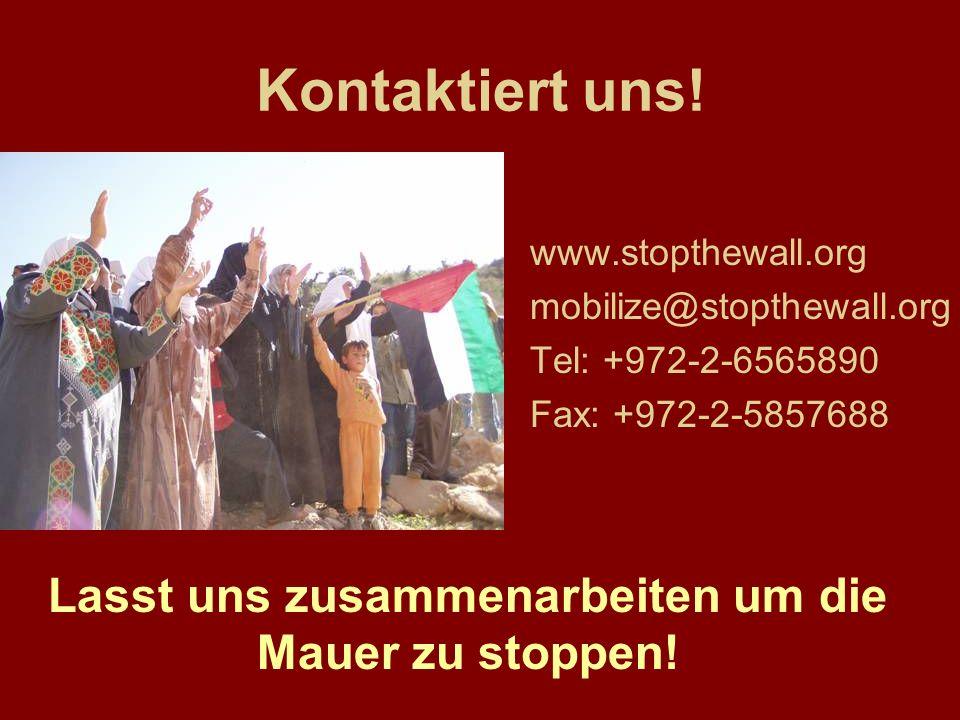 Kontaktiert uns! www.stopthewall.org mobilize@stopthewall.org Tel: +972-2-6565890 Fax: +972-2-5857688 Lasst uns zusammenarbeiten um die Mauer zu stopp