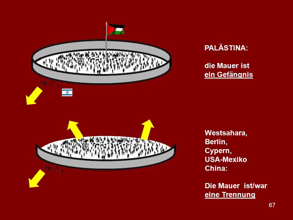 67 PALÄSTINA: die Mauer ist ein Gefängnis Westsahara, Berlin, Cypern, USA-Mexiko China: Die Mauer ist/war eine Trennung