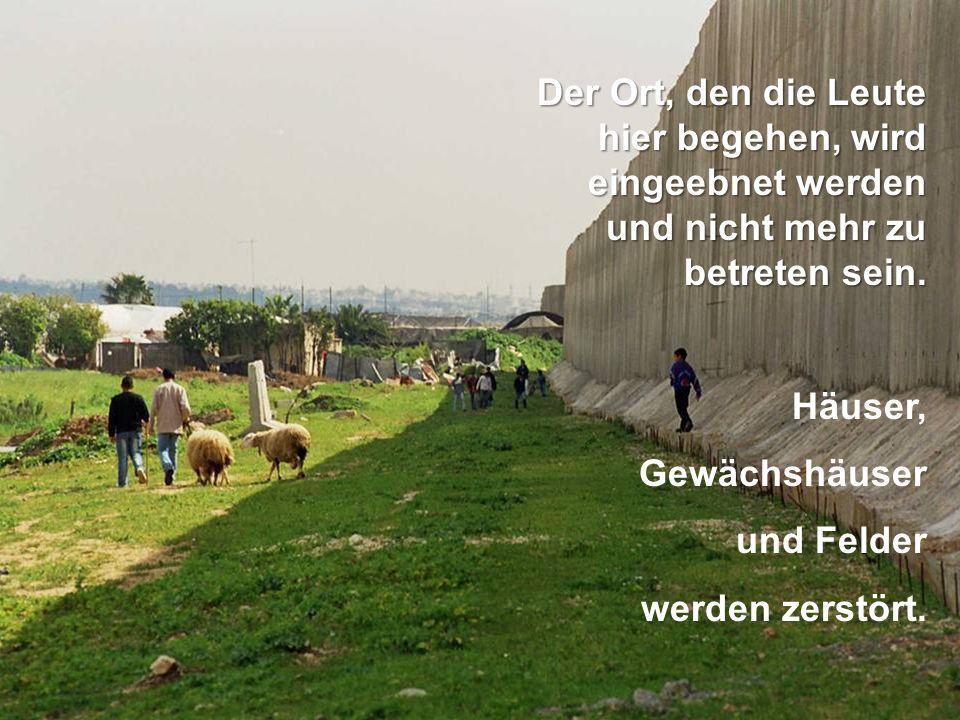 Der Ort, den die Leute hier begehen, wird eingeebnet werden und nicht mehr zu betreten sein. Häuser, Gewächshäuser und Felder werden zerstört.