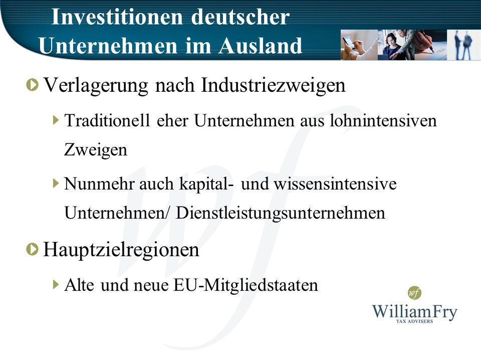 Investitionen deutscher Unternehmen im Ausland Verlagerung nach Industriezweigen Traditionell eher Unternehmen aus lohnintensiven Zweigen Nunmehr auch kapital- und wissensintensive Unternehmen/ Dienstleistungsunternehmen Hauptzielregionen Alte und neue EU-Mitgliedstaaten