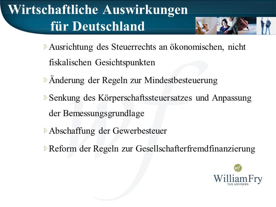 Wirtschaftliche Auswirkungen für Deutschland Ausrichtung des Steuerrechts an ökonomischen, nicht fiskalischen Gesichtspunkten Änderung der Regeln zur Mindestbesteuerung Senkung des Körperschaftssteuersatzes und Anpassung der Bemessungsgrundlage Abschaffung der Gewerbesteuer Reform der Regeln zur Gesellschafterfremdfinanzierung