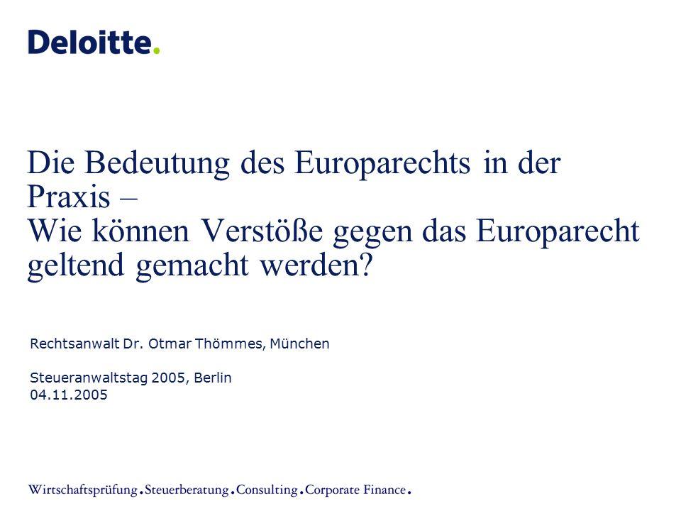 Die Bedeutung des Europarechts in der Praxis – Wie können Verstöße gegen das Europarecht geltend gemacht werden? Rechtsanwalt Dr. Otmar Thömmes, Münch