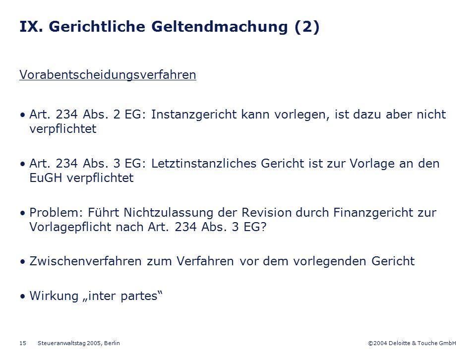 ©2004 Deloitte & Touche GmbH Steueranwaltstag 2005, Berlin 15 IX. Gerichtliche Geltendmachung (2) Vorabentscheidungsverfahren Art. 234 Abs. 2 EG: Inst
