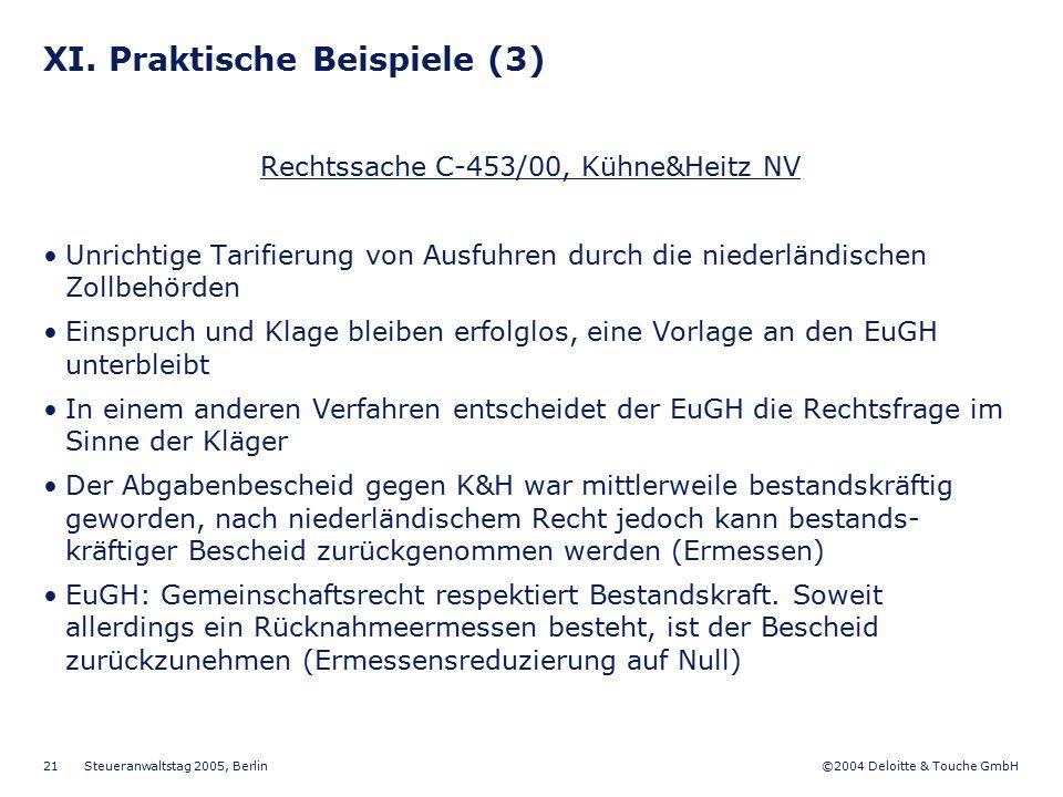 ©2004 Deloitte & Touche GmbH Steueranwaltstag 2005, Berlin 21 XI. Praktische Beispiele (3) Rechtssache C-453/00, Kühne&Heitz NV Unrichtige Tarifierung