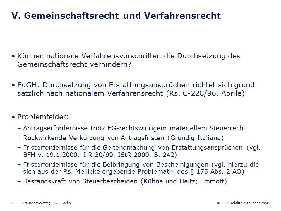©2004 Deloitte & Touche GmbH Steueranwaltstag 2005, Berlin 8 V. Gemeinschaftsrecht und Verfahrensrecht Können nationale Verfahrensvorschriften die Dur
